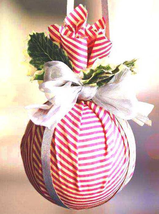 шарик ткань на елку