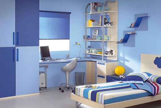 комната школьника - синий цвет интерьера