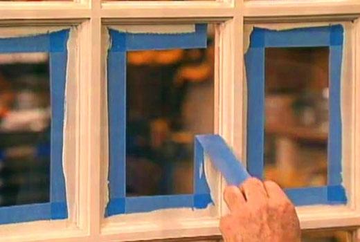 защитить стекла окна скотчем при покраске