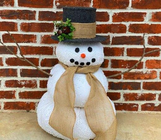 готовый снеговик для дома из ткани