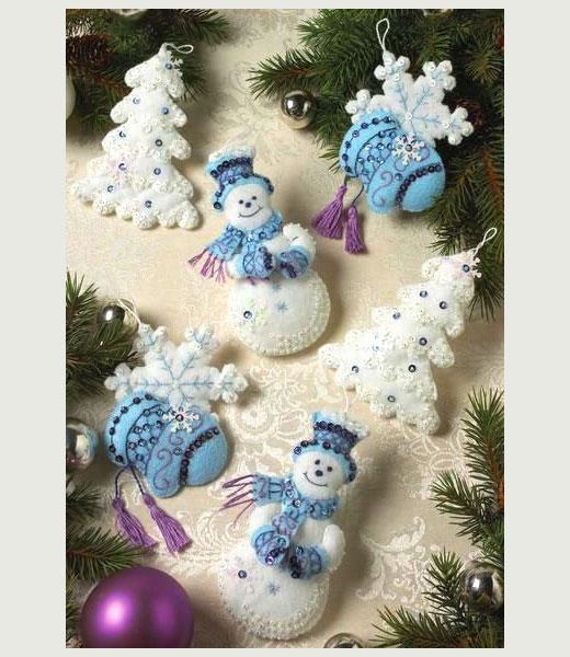 елки и снеговики из фетра