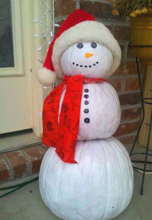 Как сделать снеговика из тыкв