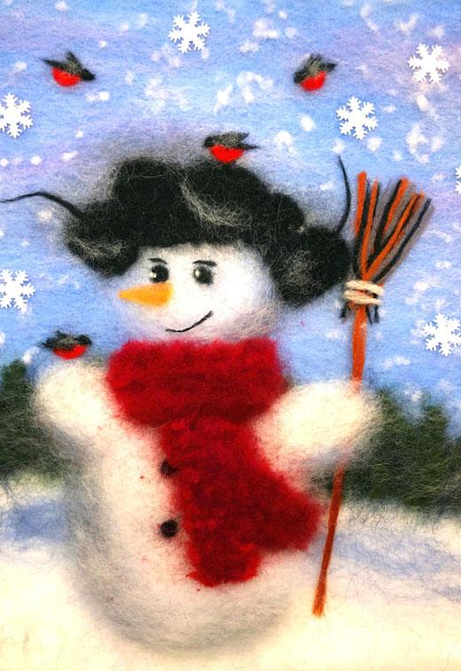 рисование шерстью снеговик