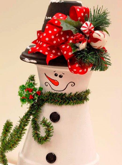снеговик из горшков