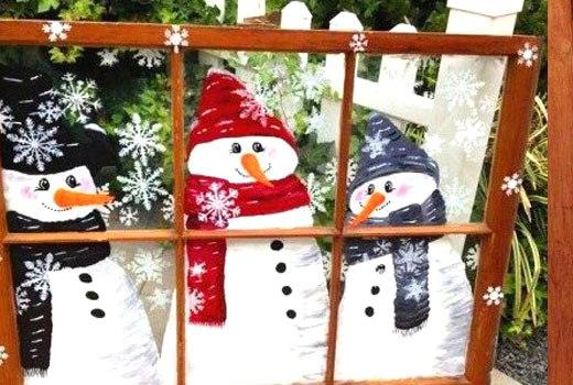 Снеговики нарисованные на старой раме