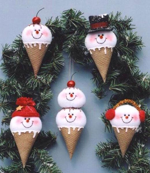 снеговики мороженое на елку