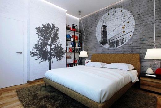декор стены кирпич серый