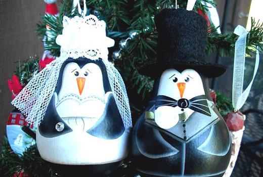 пингвины жених и невеста украшение