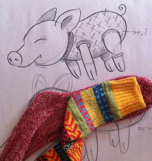 Схема свинки из носка