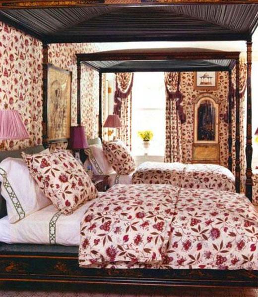 обои текстильные для отделки спальни