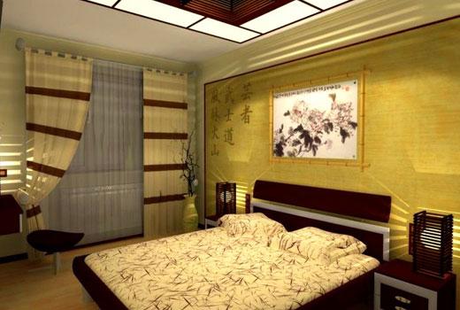Горчичный цвет спальни