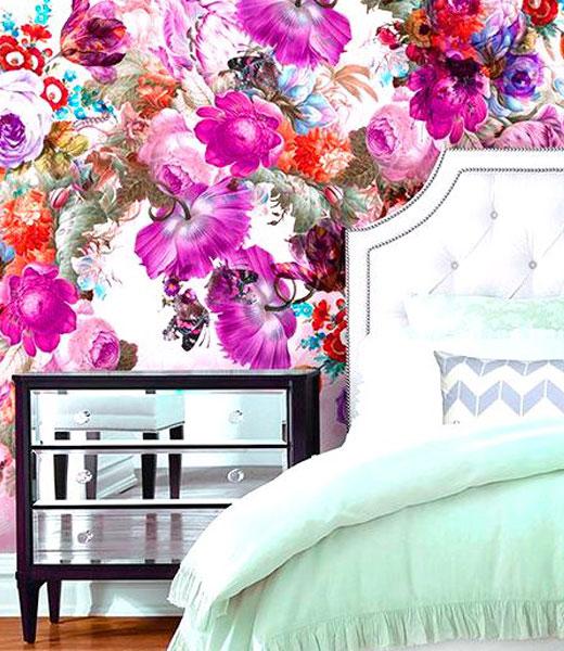 обои текстильные цветы