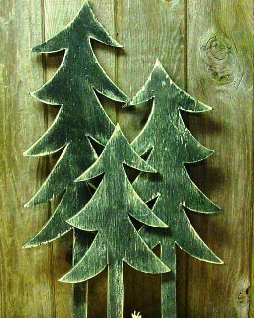 елки из кусков фанеры