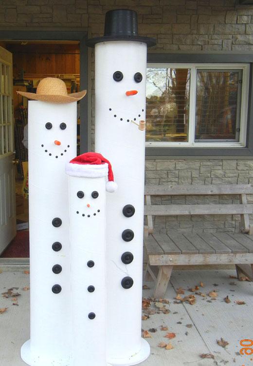 три снеговика из труб
