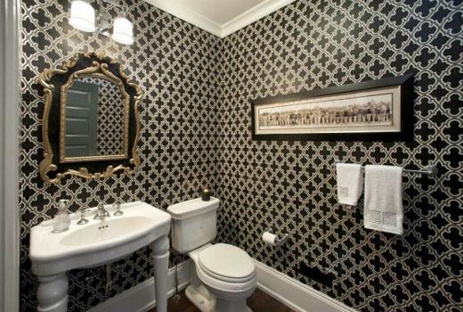 ванная обои с орнаментом