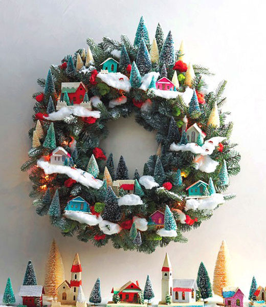 венок рождественский зимние домики