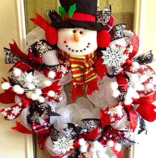 рождество дверной венок из лент