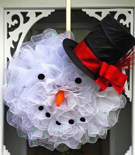 венок рождественский снеговик
