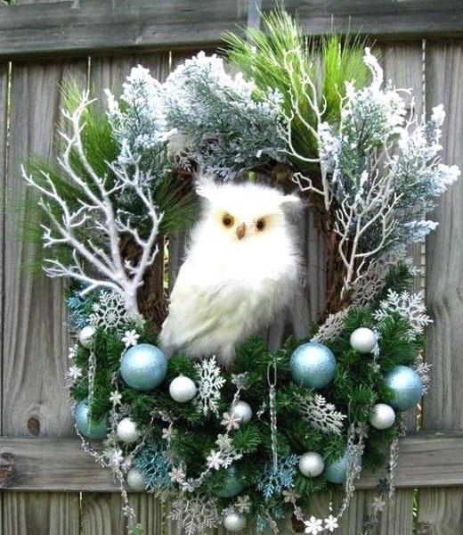 венок рождественский с совой