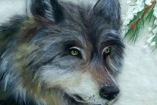 рисование шерстью волк