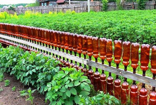 заборчик из пластиковых бутылок