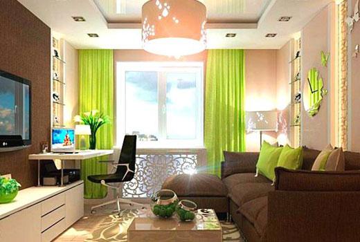 зеленый акцент в гостиной