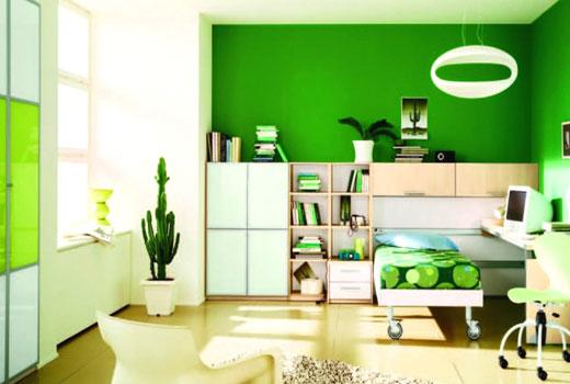 зеленая комната интерьер