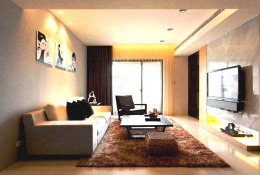 коричневый пушистый ковер в гостиной