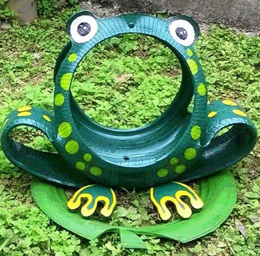 лягушка-квакушка из шины