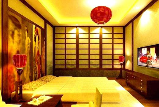 яркое освещение спальни японский стиль