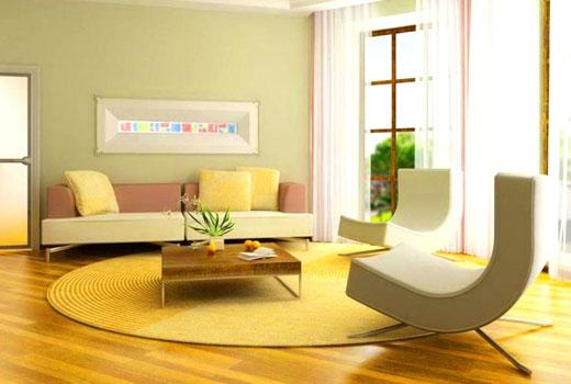 светлый коврик в гостиной